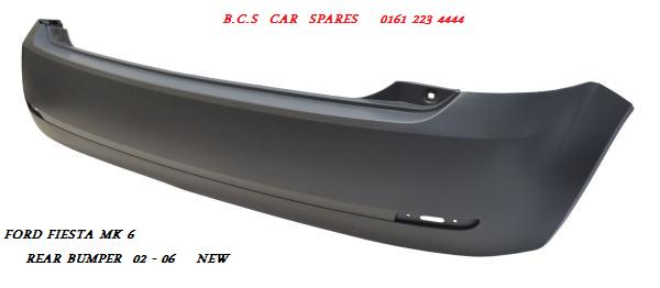 ford fiesta mk 6 rear bumper 2002 2003 2004 new new single. Black Bedroom Furniture Sets. Home Design Ideas