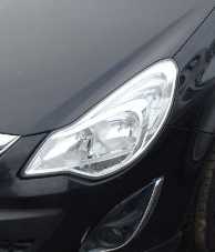 VAUXHALL CORSA  D  HEADLIGHT   PASSENGER SIDE  FRONT  CHROME TYPE 2012 - 2013  FACELIFT